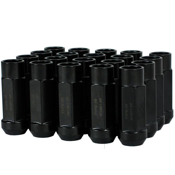 Godspeed New Type 3-X 55mm Steel Open End Lug Nuts 20 pcs. Set M12 X 1.25 Black