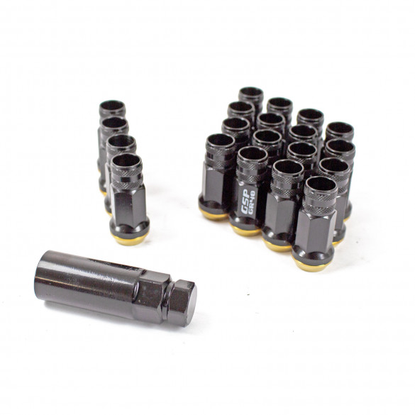 GR48 Steel Lug Nuts M12X1.50 With Spin Washer - Black