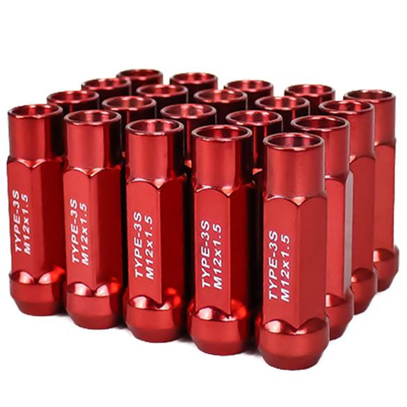 Godspeed New Type 3-X 55mm Steel Open End Lug Nuts 20 pcs. Set M12 X 1.5 Red