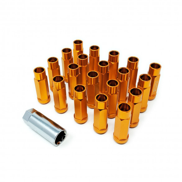 Godspeed New Type-X 60mm Open End Aluminum Lug Nuts 20 pcs. Set M12 X 1.25 Gold
