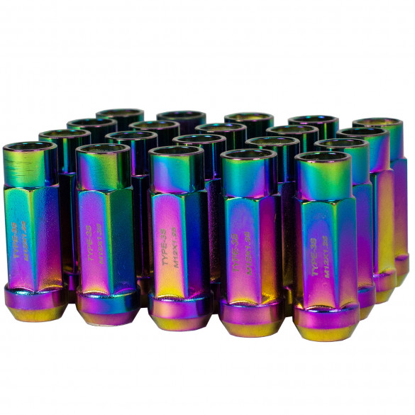 Godspeed New Type 3-X 55mm Steel Open End Lug Nuts 20 pcs. Set M12 X 1.25 Neo Chrome