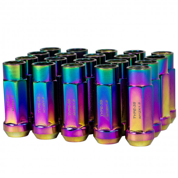 Godspeed New Type 3-X 55mm Steel Open End Lug Nuts 20 pcs. Set M12 X 1.5 Neo Chrome
