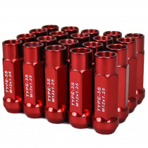 Godspeed New Type 3-X 55mm Steel Open End Lug Nuts 20 pcs. Set M12 X 1.25 Red