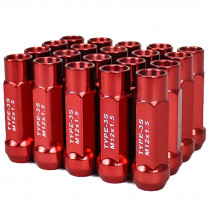 Godspeed New Type 3-X 55mm Steel Open End Lug Nuts 20 pcs. Set M12 X 1.5 Red