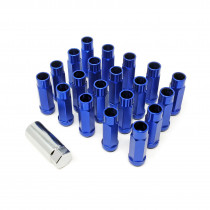 Godspeed New Type-X 60mm Open End Aluminum Lug Nuts 20 pcs. Set M12 X 1.25 Blue