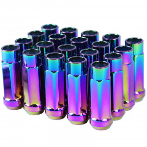 Godspeed New Type-X 60mm Open End Aluminum Lug Nuts 20 pcs. Set M12 X 1.5 Neo Chrome