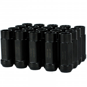 Godspeed New Type 3-X 55mm Steel Open End Lug Nuts 20 pcs. Set M12 X 1.25 Black