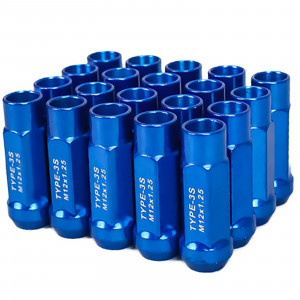 Godspeed New Type 3-X 55mm Steel Open End Lug Nuts 20 pcs. Set M12 X 1.25 Blue