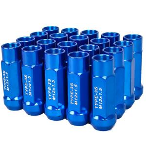 Godspeed New Type 3-X 55mm Steel Open End Lug Nuts 20 pcs. Set M12 X 1.5 Blue